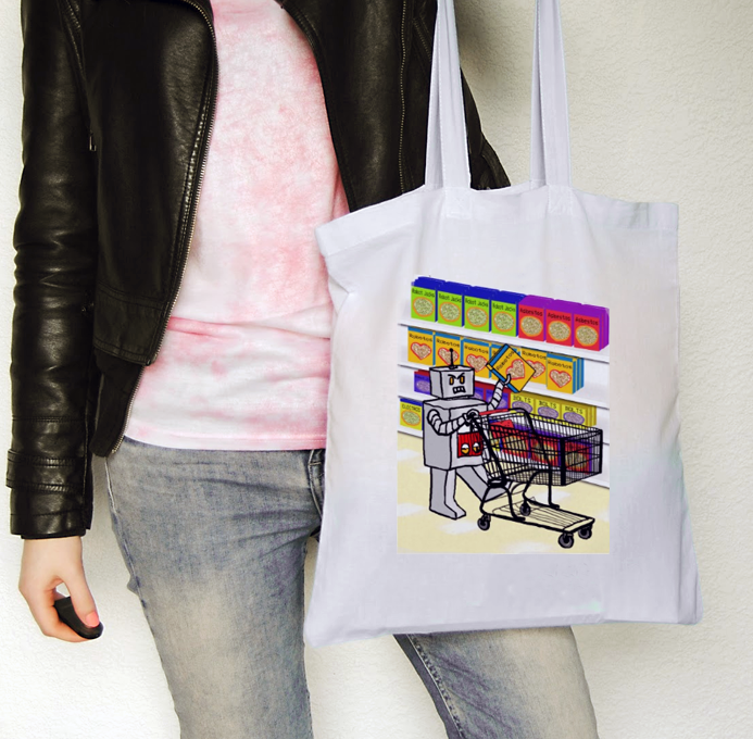 robot_shopping_tote_bag