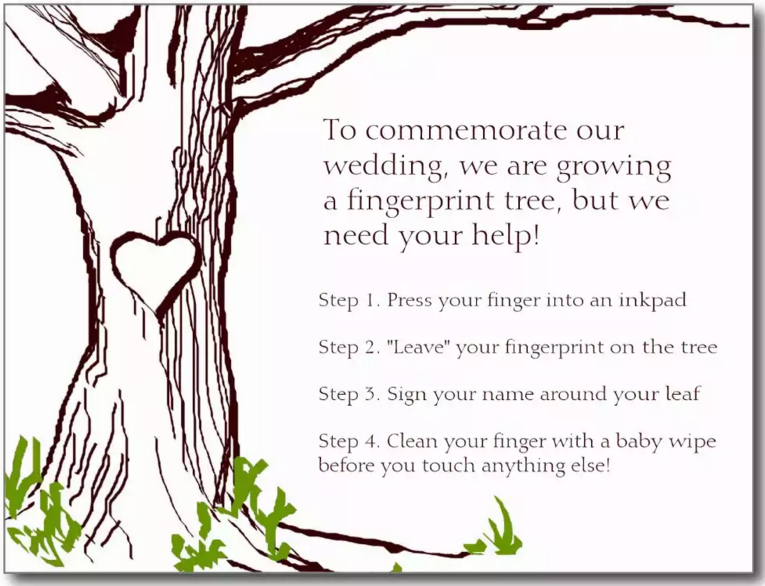 wedding tree guest book free template - nothing mundane fingerprint guestbook instruction page